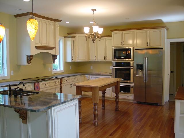 Our butcher block opens below island made this kitchen still look large while still giving them the needed additional counter prep area in the West Chester area of Pennsylvania.