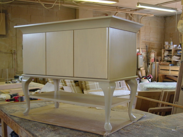 Our Main Line custom vanity was built to work in this master bathrooms limited space.