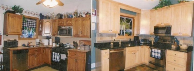 Montgomery, Fort Washington area shows all new cabinets in natural wood stain with taller cabinets and updated appliances.