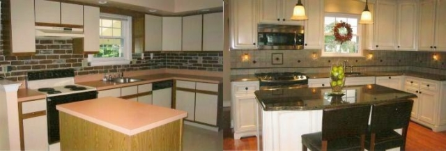 This before and after Langhorne, Bucks County shows a simple job with backsplash updated in tile and new appliances, and cabinets with a glazed finish. Note the custom furniture kick plate area.