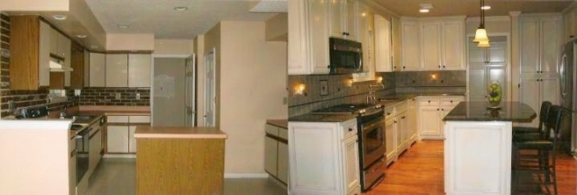 This kitchen in Langhorne, Newtown, Bucks County was able to keep the same floor plan but added a larger island and taller wood cabinets up to the ceiling. Custom toe kick area and upgraded furniture look for a beautiful custom look.