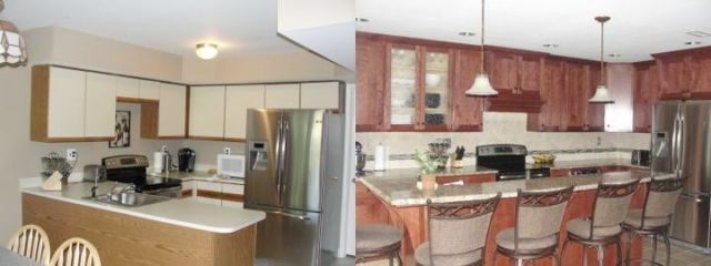 This all-new kitchen in Yardley, Lower Makefield area home with the soffits removed, gave the added storage for this small kitchen remodel. The larger island was able to have seating for five people.